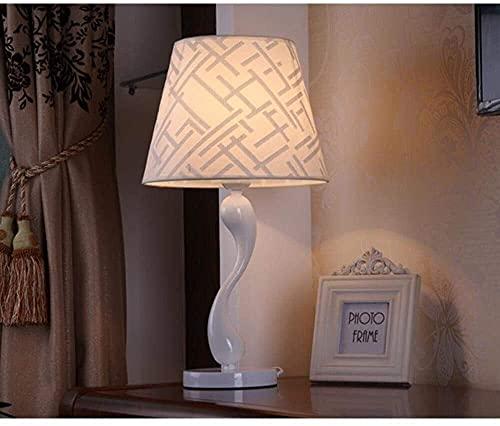 Mu Mianhua Lámpara de Mesa Moderno, nórdico, minimalismo, arte, lámpara de escritorio led abstracta, luz de noche LED con cuerpo de lámpara de porcelana, pantalla de tela, dormitorio, estudio, decorac
