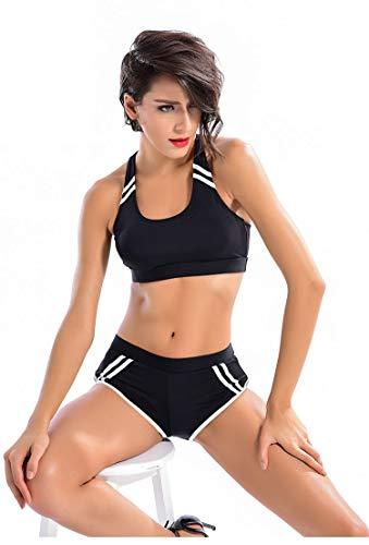 Yvonnelee Damen Sportliches Bikini Set Bademode mit Push Up Oberteil und Hotpants Neckholder Bügel Schalen-L