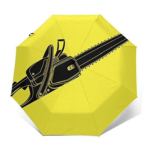 Paraguas Plegable Automático Impermeable Cadena de Motosierra, Paraguas De Viaje Compacto a Prueba De Viento, Folding Umbrella, Dosel Reforzado, Mango Ergonómico