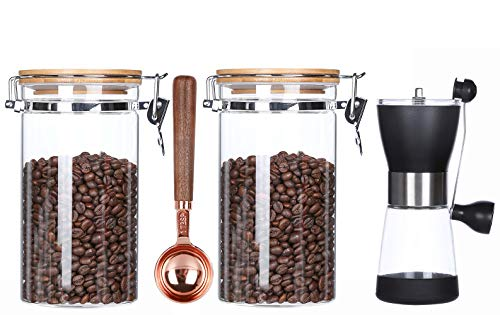 Glass Coffee Beans Storage Containers with Spoon,Airtight Coffee Canister,Glass Coffee Jars,Coffee Bean Holder,Glass Coffee Storage Container,Ground Coffee Jar,40 FLoz,2 Piece(include Grinder)