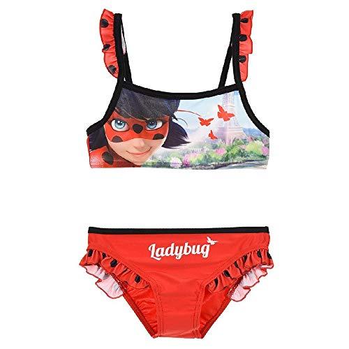 Miraculous LadyBug e Cat Noir - Costume Bikini 2 Pezzi con Volant Mare Piscina - Full Print - Bambina - novità Prodotto Originale con Licenza Ufficiale SE19XX [Rosso - 4 Anni - 104 cm]