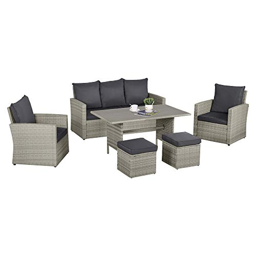 Outsunny 6 PCS Patio Dining Set All Weather Rattan Wicker Furniture Set with Wood Grain Top Table...