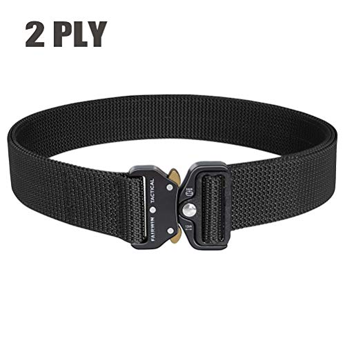 Fairwin Tactical Gun Belts, 1.5' Heavy Duty Two Layer EDC Belt with Quick-Release Buckle - Reinforced Carry Belts Great for Wilderness Hunting Survival (Black, M(Waist 36''-42''))