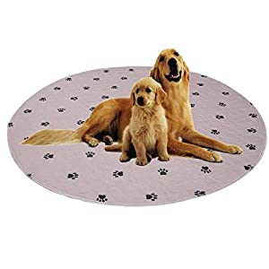 ✅Reusable Dog Pee Round Pads+Free Puppy Grooming Gloves/Fast Absorbing Machine Washable Whelping Pad/Waterproof Puppy Training Pad/Housebreaking Absorption Pads -2 Pack 36″ (Round, Circular Shape)