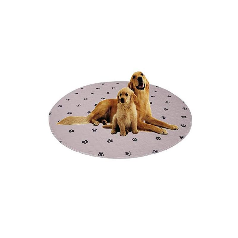 """dog supplies online ✅reusable dog pee round pads+free puppy grooming gloves/fast absorbing machine washable whelping pad/waterproof puppy training pad/housebreaking absorption pads -2 pack 36"""" (round, circular shape)"""