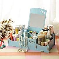 スマイリー木製クリエイティブ収納ボックス手作りデスクトップミラー化粧品収納ボックス化粧品収納ボックス (Color : ブルー)