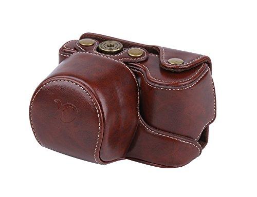 PDXD-share beschermtas PU lederen camera tas voor Sony Alpha A6000 A6300 camera met 16-50 mm lens