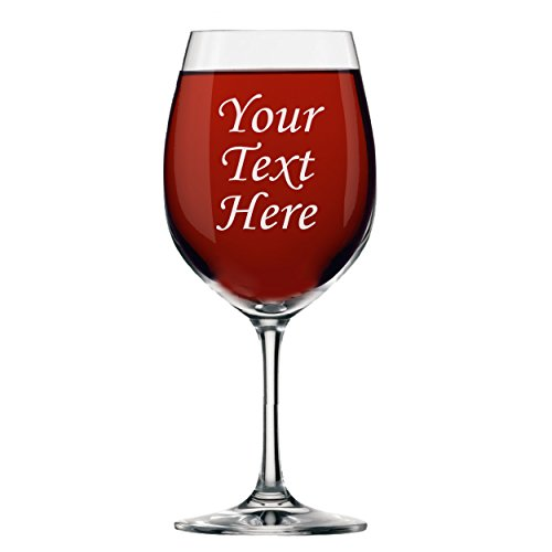 Amazon.com | Personalized Wine Glass With Stem - Engraved with Your Custom Text: Wine Glasses