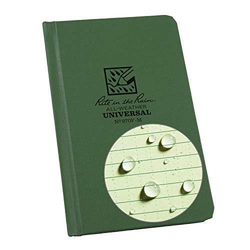 Rite in the Rain Caderno de capa rígida à prova de intempéries, 10,6 x 16,5 cm, capa verde, padrão universal (nº 970F-M), 16,75 x 11,6 x 0,625