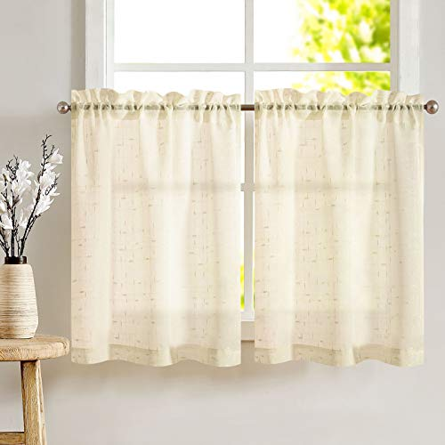 Beige Tier Curtains 36 inch Rod Pocket Kitchen Window Tiers Sheer Cafe Curtain Set Linen Textured Voile Drapes 2 Panels