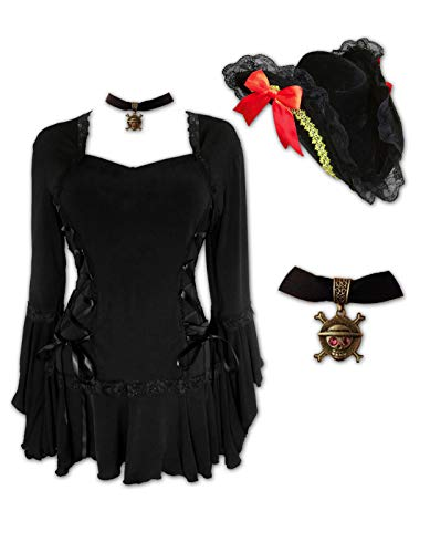 Dare to Wear Corsair Pirate Costume: Fancy Velour Hat, Jolly Roger Choker & Victorian Gothic Women's Plus Size Bolero Top, Black 2X