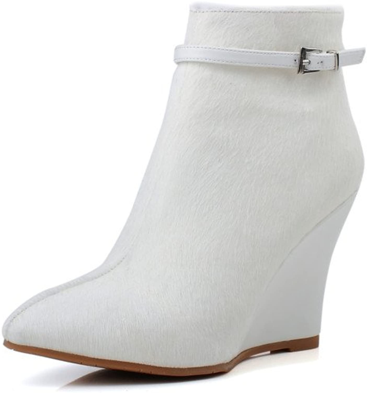 Nine Seven Genuine Leather Womens Pointed Toe Wedge Heel Ankle Boots