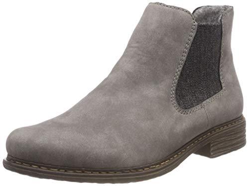 Rieker Z2194 Damen ChelseaBoot,Stiefel,Halbstiefel,Stiefelette,Bootie,Schlupfstiefel,flach,Grey,39 EU