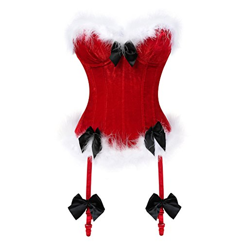 frawirshau Christmas Corset Santa Lingerie for Women Santa Costume Sexy Bustier Corset Top Red XL