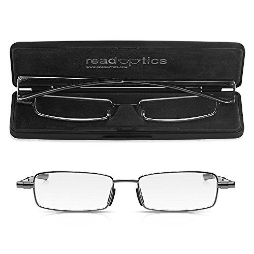 Read Optics faltbare Lesebrillen +3,5 Dioptrien inkl dünner Hardcase Aufbewahrungsbox. Lesebrille mit Vollrahmen in edlem Dukelgrau/Gunmetal, rechteckigen Gläsern und klappbaren Bügeln