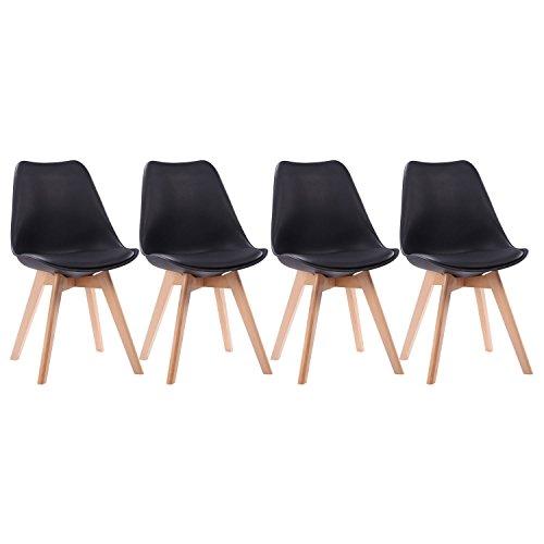 Happy Garden Lot de 4 chaises scandinaves Nora Noires avec Coussin