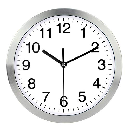 Wall Clock 12 Inch Metal Frame Glass Cover Non-ticking Number Quartz Wall...