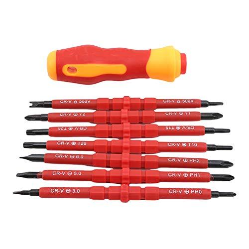 Pinhan 8 en 1 Juego de destornilladores aislados multifuncionales para electricista, kit de herramientas de reparación para electricista
