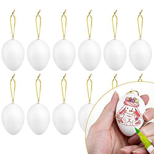 Diealles Shine 12 PCS Uova di Pasqua Decorative, Uova di Pasqua da Appendere per la Decorazione della Festa a Casa di Pasqua,Bianca