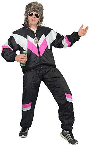 Foxxeo 80er Jahre Kostüm für Erwachsene Premium 80s Trainingsanzug Assianzug Assi - Herren Größe S-XXXXL - Fasching Karneval Anzug, Farbe schwarz-Weiss-pink, Größe: S