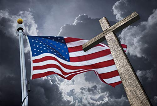 Yeele Cross Backdrop 7x5ft American Flag with Wooden Crucifix Photography Background Christian Easter Wedding Religious Church Pictures Jesus Resurrection Photo Booth Photoshoot Props Wallpaper