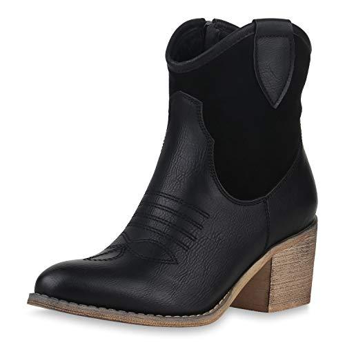 SCARPE VITA Damen Cowboy Boots Western Stiefeletten Blockabsatz Schuhe Leder-Optik Cowboystiefel Stickereien 180191 Schwarz Braun 36