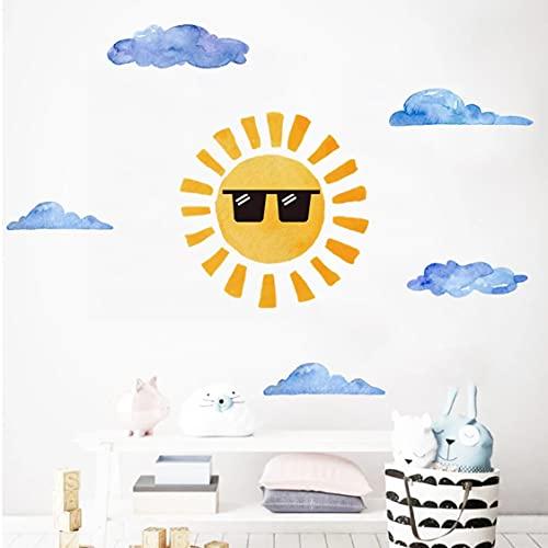 Rjjrr Gafas De Sol, Pegatinas De Sol Para Pared Para Niños, Habitación De Niños, Dormitorio, Decoración De Pared, Vinilo, Calcomanías De Pvc, Decoración Del Hogar, Murales, Pegatina De Dibujos Animad