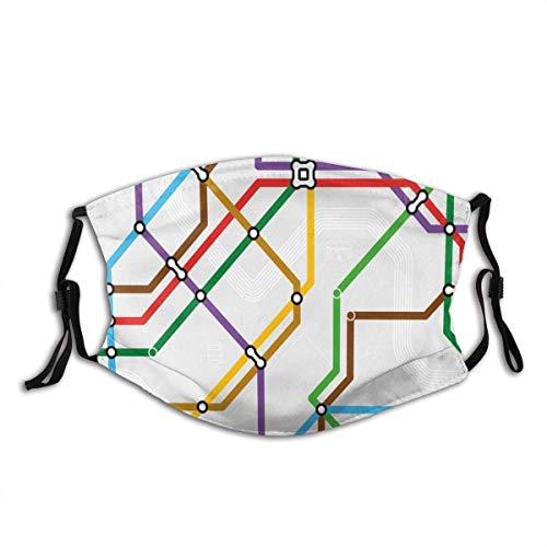 Mundschutz Gesichtsbedeckungskarte Lebendig gestreifte U-Bahn-Route Drucken Gesichtsbedeckung Waschbar Wiederverwendbar, Radfahren Gesichtsdekorationen Gesichtsdekorationen
