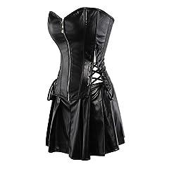 Grebrafan Women Faux Leather Corset Dress Gothic Punk Zipper Corset with Skirt (UK(16-18) 3XL, Black) #1