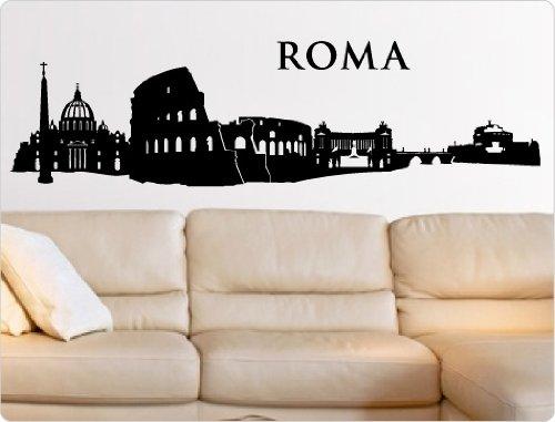 Graz Design - Adesivo da parete, skyline di Roma, 01 - nero, 200 x 55 cm