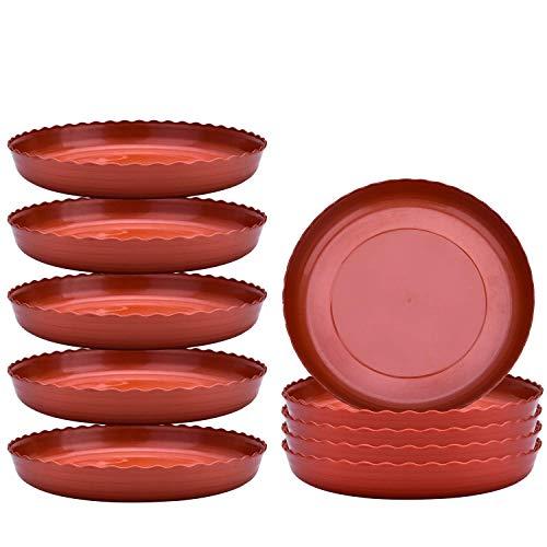 DXX-HR Planta Platillo de 8 Pulgadas Maceta De Plástico Goteo Platos for Las Plantas al Aire Libre de Interior Tiesto Ronda (10 Paquetes) Jarrón Decorativo
