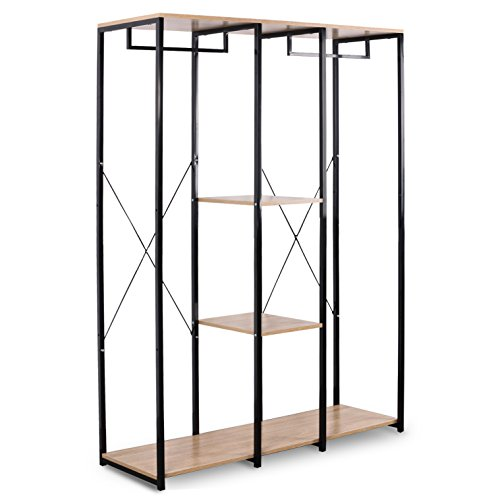 WOLTU Extra Large Clothes Rail, Sturdy Coat Stand Rack Storage Shoe Rack Shelves Organizer Black