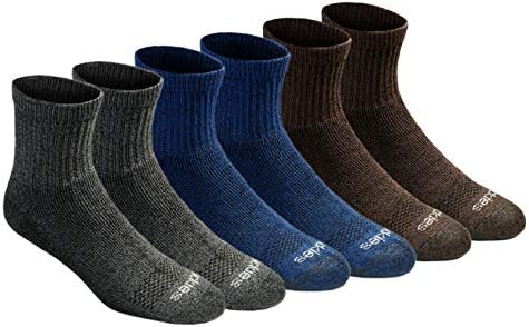 Dickies Men s Dri tech Moisture Control Quarter Socks Multipack Grey Blue Brown 6 Pairs Shoe product image