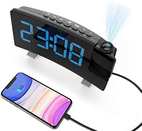 Senli Radiowecker mit Projektion, Projektionswecker, Digital Wecker mit Dual-Alarm, 4 Alarmtöne mit 3 Lautstärke, 15 FM Radio, USB-Anschluss, 6 Dimmer /4 Projektionshelligkeit, Schlummerfunktion