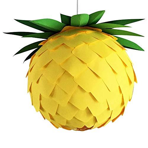 Pineapple Ø 35cm, gelb grüne Papierlampe Hängelampe Lampe Lampenschirm Pendellampe Designerlampe Deckenlampe Leuchte AUS PAPIER + Lampenfassung E27 für LED Glühbirne