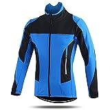 SFITVE Chaqueta de Ciclismo Hombre Respirable Impermeable,Ciclismo Chaqueta Bicicleta Jackets Reflectantes,Polar Térmico Abrigo de Bicicleta MTB Invierno(Size:L,Color:Azul)