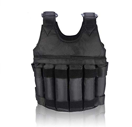 Yosoo Black Adjustable 20kg Weight Training Workout Camouflage Weighted Vest Exercise Fitness (20kg)