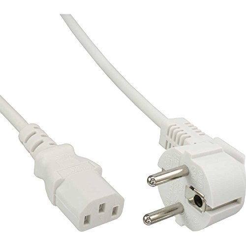 InLine 16649W Netzkabel, Schutzkontakt gewinkelt auf Kaltgerätestecker C13, 3m, weiß
