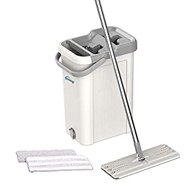 Oshang Flat Floor Mop and Bucket Set for Home Floor Cleaning, Hands Free Floor Flat Mop, Stainless-steel Handle, 2 Washable & Reusable Microfiber Pads from