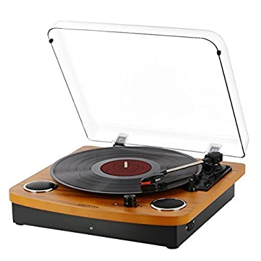 JOPOSTAR Bluetooth Vinyl Turntable Record Player, LP 3-SpeedBelt Driven with Built-in Stereo Speakers, Aux Input & RCA Output, Natural Wood