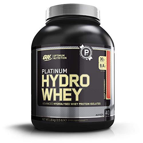 Optimum Nutrition ON Platinum Hydro Whey, Proteinas en polvo, para masa muscular y musculacion, fuente de BCAA, bajo en calorías, Fresa, 40 porciones, 1.6 kg
