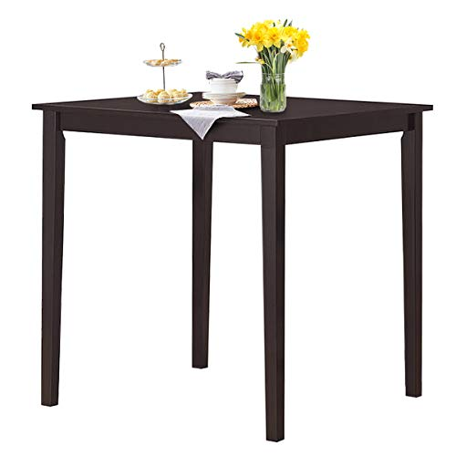 Giantex Square Dining Table, Counter Height Table with Rubber Wood Legs for 2-4 Person, 36'' Desktop Wood Kitchen Table for Living Kitchen Room Apartment Small Space (Espresso)