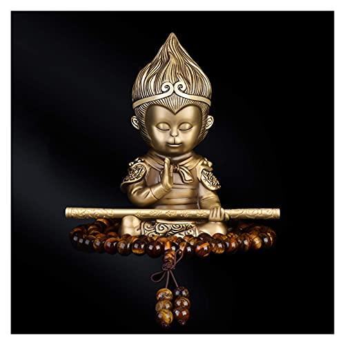 KTDT Estatua de Buda Ídolo de Buda para salpicadero de Coche Regalos creativos Adornos de Coche Estatua de Buda + Pulsera Estatuas budistas de latón Artesanía Adorno Decorativo Estatua de meditac