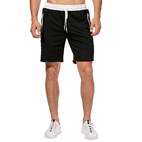 CHYU Herren Sport Joggen und Training Shorts Fitness Kurze Hose Jogging Hose Bermuda Reißverschlusstasch (M, Schwarz)