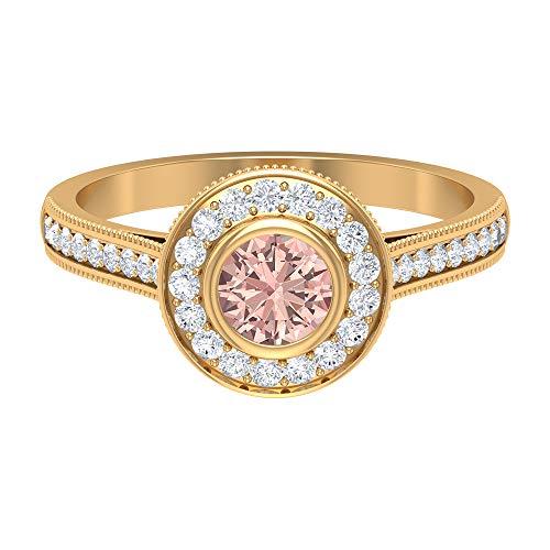1 CT Erstellt Morganit Halo-Verlobungsring mit Diamant, Vintage-Ringe für Frauen (5 mm Rundschliff, hergestellt Morganit), 14K Gelbes Gold, Size:EU 54