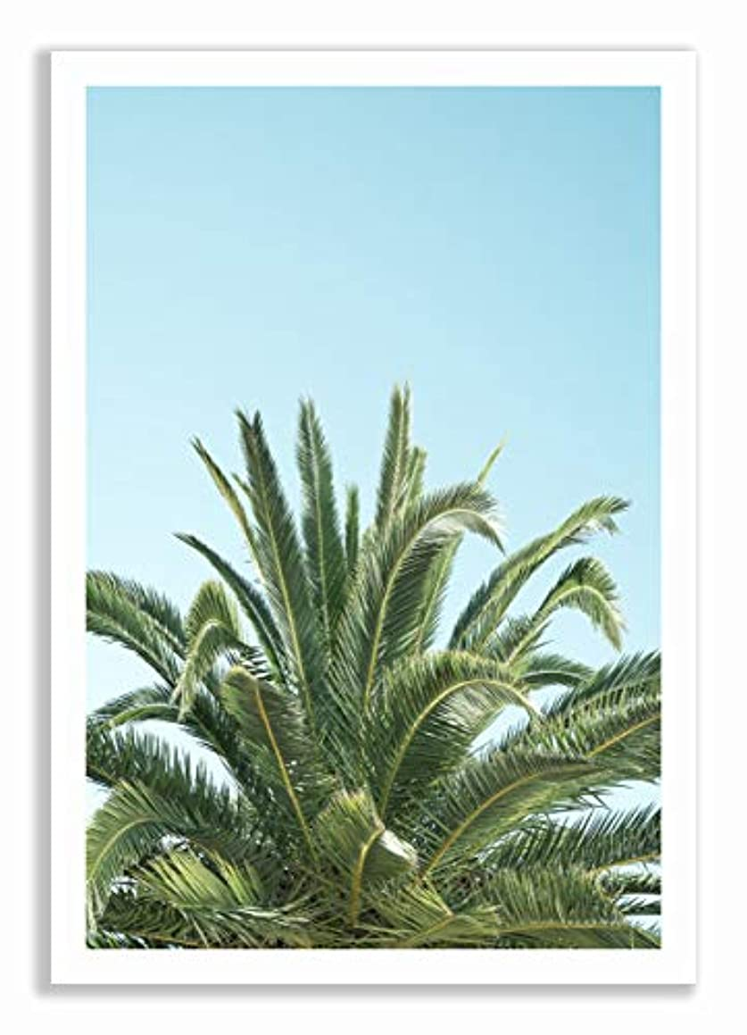 Palm Tree on Blue Background with White Lacquer Wooden Frame and Mount, Multicolored, 50x70
