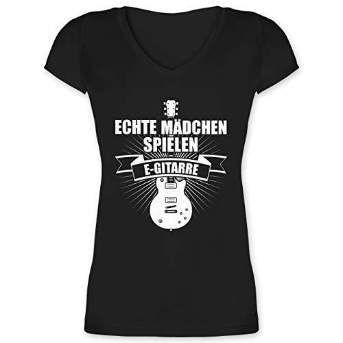 Instrumente - Echte Mädchen Spielen E-Gitarre - XS - Schwarz - Damen Shirt Gitarre - XO1525 - Damen T-Shirt mit V-Ausschnitt