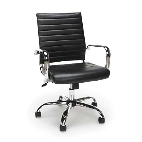 OFM ESS Collection Soft Ribbed Bonded Leather Executive Conference Chair, Black