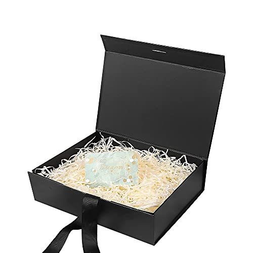 Caja de Regalo,Caja de Regalo Reutilizable,Caja de Regalo Lujo,Cajas de Cartón para Regalo,Caja de Regalo con Tapa,Caja de Regalo con Lazo(Negro)