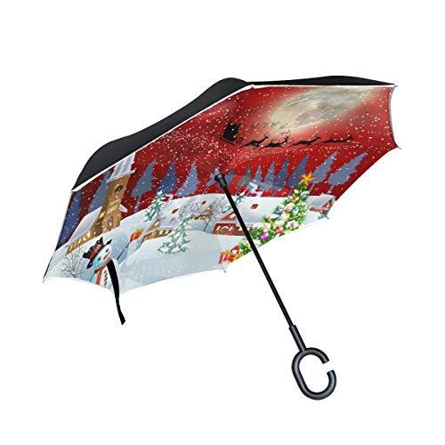 Bigjoke Doppelschichtiger umgekehrter Regenschirm, Weihnachtsbaum, Schneemann, Winddicht, wasserdicht für Auto, Outdoor, Reisen, Erwachsene, Herren und Frauen
